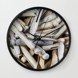 Wooden Clothespins 5 Wall Clock