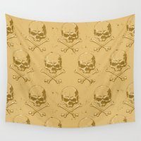 pirates Wall Tapestries featuring Pirates skulls by Tony Vazquez