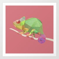 chameleon Art Prints featuring Chameleon. by Diana D'Achille