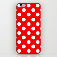polka dots iPhone & iPod Skins featuring Polka Dots (White/Red) by 10813 Apparel