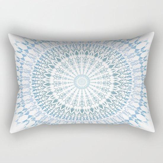 Grayish Blue White Mandala Rectangular Pillow