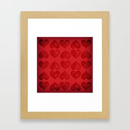 'Off With His Head Red Hearts Pattern' Wonderland styled design by Dark Decors Framed Art Print