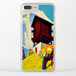 Vintage Valais Switzerland Travel Clear iPhone Case
