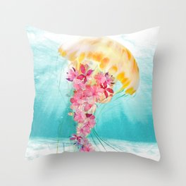 Jellyfish with Flowers Throw Pillow