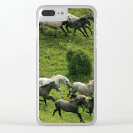 Running horses Clear iPhone Case