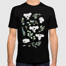 Koala and Eucalyptus Pattern Black Mens Fitted Tee X-LARGE