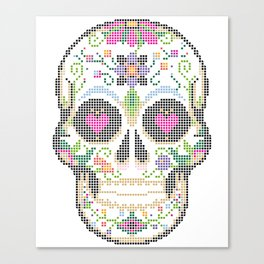 Create a Real Stitchery - Pixel Art - Day of the Dead, Cinco de Mayo, Calavera, Dia de los Muertos Canvas Print