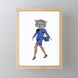 Cat Person Funny Cat in Clothes Gift Framed Mini Art Print