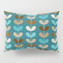Mid Century Modern Coffee Kettle Kitchen Wall Decor // Caribbean Blue, Turquoise, Brown, Khaki, Tan Pillow Sham
