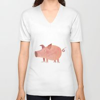 pig V-neck T-shirts featuring Pig by Michelle McGaughey