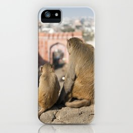 Monkeys near Galta Gate, Jaipur, India iPhone Case