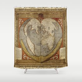 Heart-shaped projection map Shower Curtain