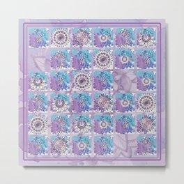 Broken tile 2. Mandalas in blue and purple. Metal Print