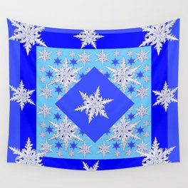 DECORATIVE BABY BLUE SNOW CRYSTALS BLUE WINTER ART Wall Tapestry