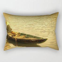 Vietnamese Boat at Sunset Rectangular Pillow