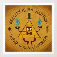 hologram Art Prints featuring Reality is an illusion~Universe is a hologram by Inkbyte Studios