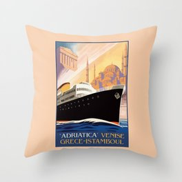 Venice Greece Istanbul shipping line retro vintage ad Throw Pillow