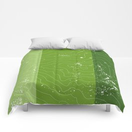 Green topographic map of a mountain Comforters