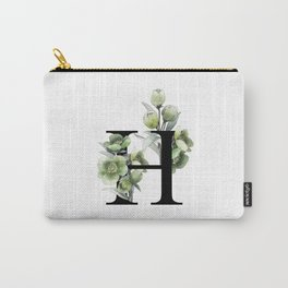 Letter 'H' Helleborus Flower Typography Carry-All Pouch