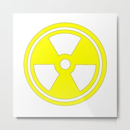 Caution Radioactive Sign In Yellow Metal Print