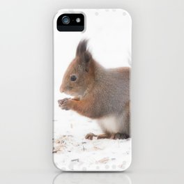Squirrel And Lunch Pause Winter Scene #decor #society6 #buyart iPhone Case