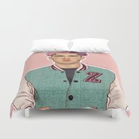 zayn Duvet Covers featuring Zayn varsity by Coconut Wishes