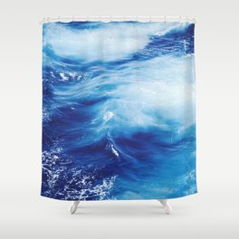 Blue Ocean Water Waves Shower Curtain