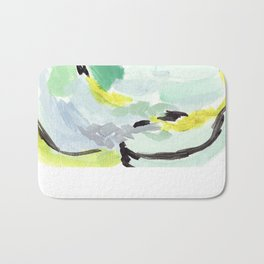 Twirl Green: Abstract Painting Bath Mat