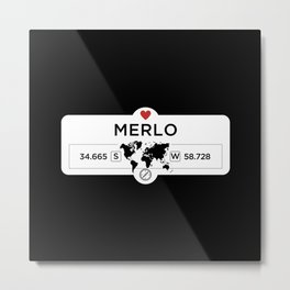Merlo - Argentina - with World Map and GPS Coordinates Metal Print