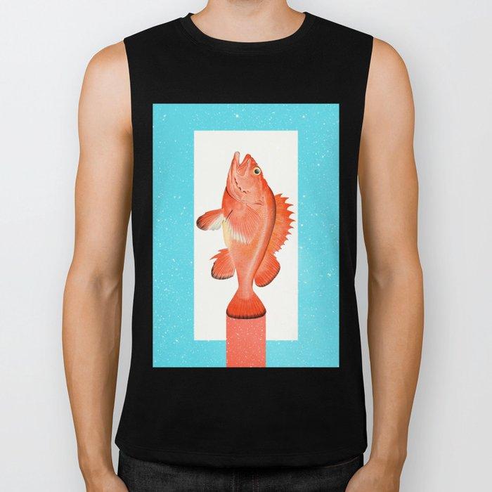 Orange Fish Biker Tank