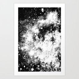 Chaotic Space : Galaxy Black White Gray Art Print