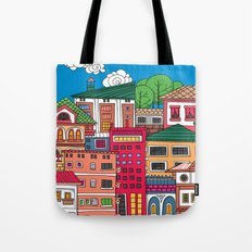 Doodle town and sky with clouds.  Tote Bag