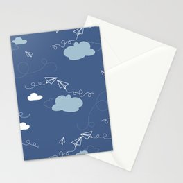 Take flight Paper planes in Blue Stationery Cards