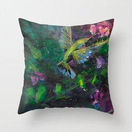 Mystical Hummingbird Throw Pillow