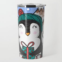 Warm Wishes Holiday Penguin Travel Mug