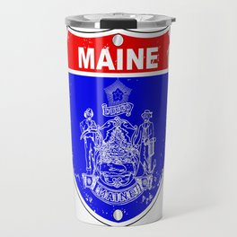 Maine Flag As A  Interstate Sign Travel Mug
