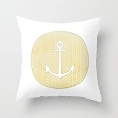 Anchor in Yellow Throw Pillow