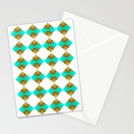 Offset Blue and Gold Diamonds Stationery Cards