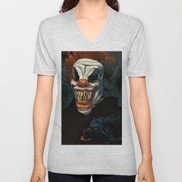 Scary Clown Blue Smoke Unisex V-Neck