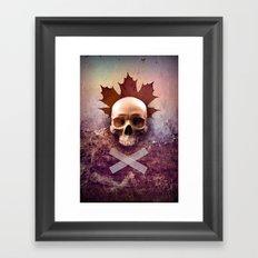 Skull and Leaf Framed Art Print