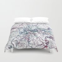 pittsburgh Duvet Covers featuring Pittsburgh map by MapMapMaps.Watercolors