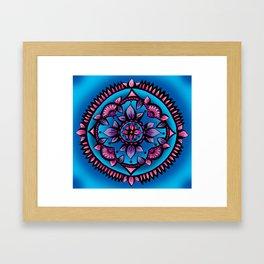 Shining Sunflower Mandala Framed Art Print