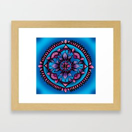 Shining Sunflower Mandala Framed Art Print