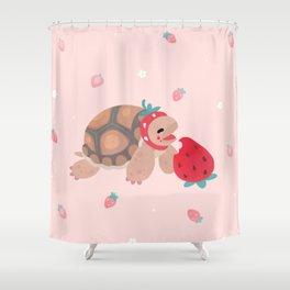 Tortoises love strawberries Shower Curtain