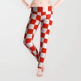White and Scarlet Red Checkerboard Leggings