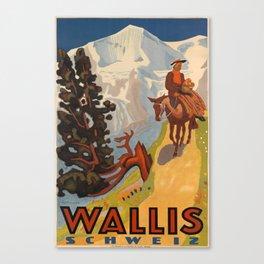 Nostalgic Wallis Schweiz Canvas Print
