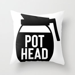 Coffee Pot Head Throw Pillow