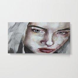 Original watercolor portrait blonde girl with red lips, art Metal Print