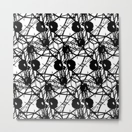 Black and White Flowers Pattern Metal Print