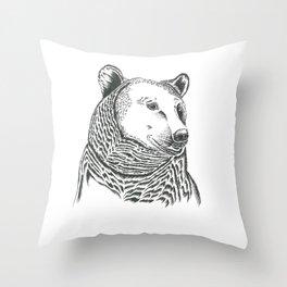 Bear Illustration Throw Pillow